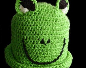 Custom Made Crochet Big Eye Green Frog Hat