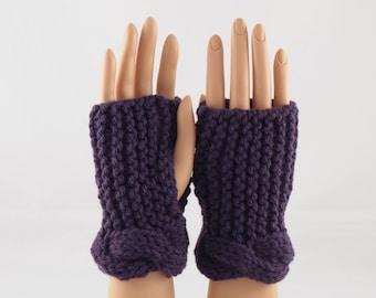 Hand Knit Wrist Warmers, Fingerless Gloves in Eggplant Purple Wool