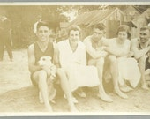 Antique Photo Young Men In Swimsuits And Ladies Look At Guy With Dog At Beach Vintage Photograph