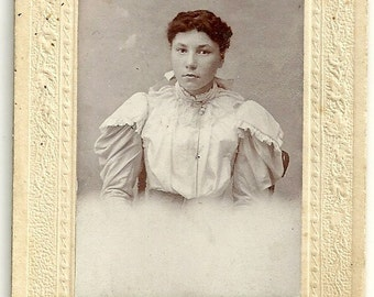 Antique Cabinet Card Photograph Girl With Raven Hair In Dress With Puffy Sleeves Vintage Photo