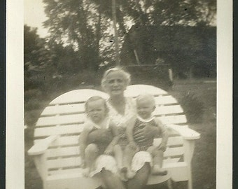 Vintage Snapshot Photo Grandma With Arms FulL Of Twin Boy And Girl Children In Swimsuits Antique Photograph