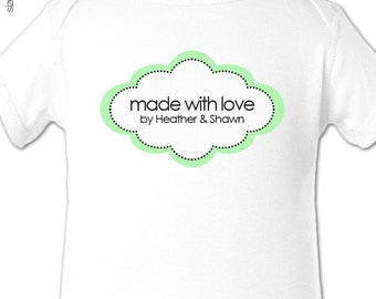 made with love bodysuit - personalized new baby bodysuit gift, baby shower, hospital gift