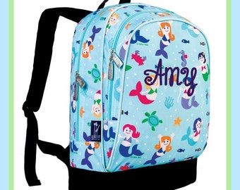 Monogram Backpack and Lunch Bag Set - Wildkin - Personalized - MErmaids - Back to School Elementary