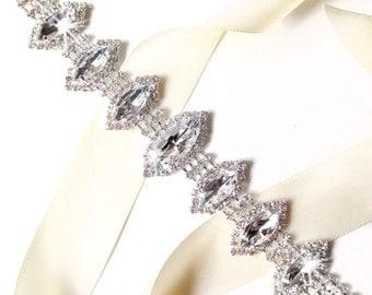 SALE! Marquise Rhinestone Bridal Belt Sash - White Ivory Silver Satin Ribbon - Rhinestone Crystal - Wedding Dress Belt