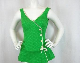 Vintage 60s Green Polka Dot Skirted Swim Suit, Sz S
