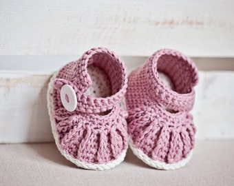 Instant download - Crochet PATTERN for baby booties (pdf file) - Chain Mary Janes (0-6,6-12 months)