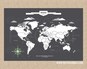 Push Pin Map Wall Art Print, INTERACTIVE Family Map, // Personalized, Gallery Wrapped Canvas or Print // H-I05-1PS AA4