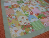 ON SALE: Girl quilt floral fabric orange green yellow blanket hostess gift farmhouse chic looks like vintage sheets linens