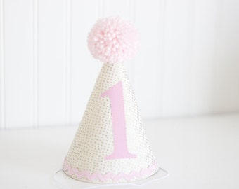 Pink and Gold Shimmer Polka dot fabric party hat 1st birthday hat cake smash photo prop