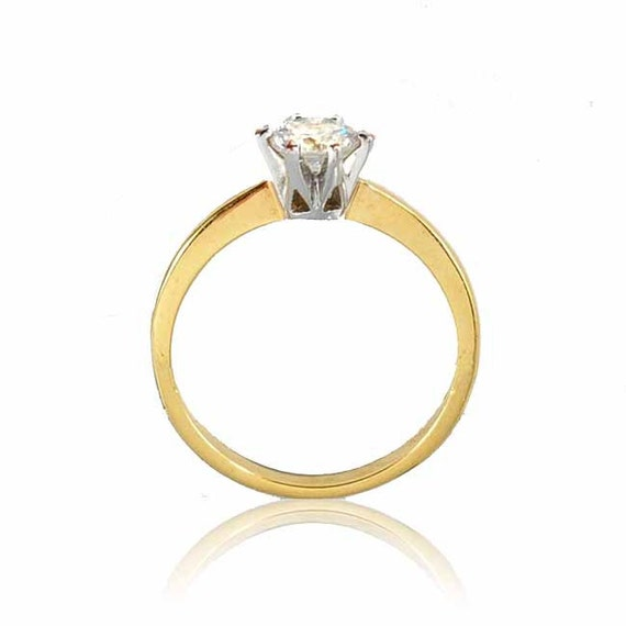 Vintage Gold CZ Solitaire Ring Size 9 Engagement Ring by boylerpf