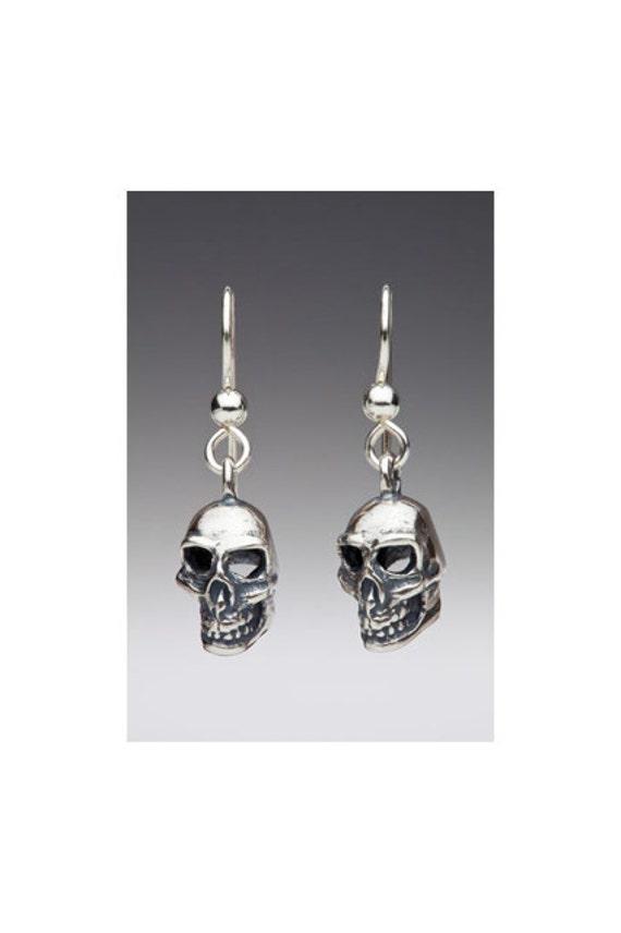 Skull Earrings Silver Skull Jewelry Skull Charm Gothic Jewelry Gothic Earrings Biker Earrings Biker Jewelry Skull ArtDangle Earrings Skulls