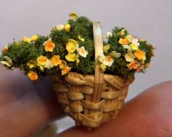 miniature flower basket yellow
