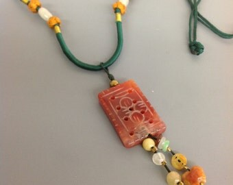 Carved carnelian necklace
