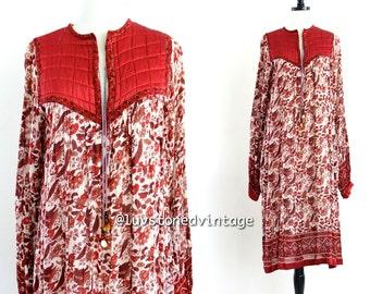 70s Vintage Dhara India Tent Cotton Boho Hippie Indian Ethnic Tunic Festival Maxi Midi Dress . XS . SML . 717.2.9.14