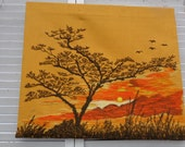 Vintage Needlepoint Picture 1970's Handmade Tree Sunset Fabric  Unframed  21 x 18 frame needed
