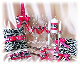 Zebra Wedding Ring Pillow, Flower Girl Basket, Guest Book, Leg Garter Set, Unity Candle, Cake Set, Flutes 14pc Set  Zebra and Hot Pink