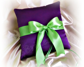 Weddings ring bearer pillow deep purple and green, wedding ring cushion