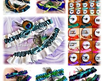 Peacock feathers bridal leg garter set, peacock wedding garter belt set, custom colors.
