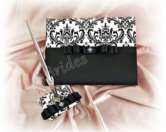 Black and white damask guest book and pen set | madison damask weddings, black satin ribbons