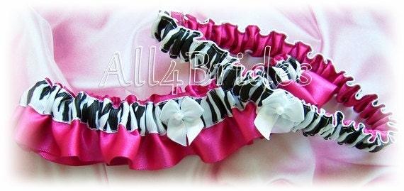 Hot pink zebra wedding bridal or prom garter set, satin garters.