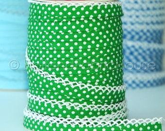 Double fold crochet edge bias tape, crochet bias tape, lace bias tape, green bias tape, polka dot bias tape