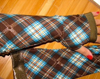 Scottish Tartan in Blues Browns and Gold Lightweight Fingerless Gloves Arm Warmers Size Medium Only