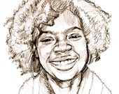 "African American Art, Girl ""Curly Haired"", 8""x8"" Portrait Print of Drawing by Gwen Meyerson"