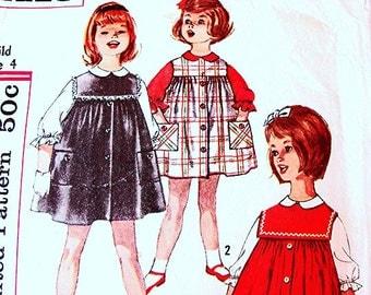 Toddler Dress Pattern, umper Pattern, size 4,  Girls Jumper Dress with Blouse Vintage Sewing Pattern