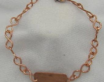 Copper Bracelet. Copper ID bracelet. Chain Bracelet.