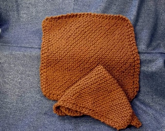 Knitted Cotton Dish Scrub Cloths, Butterscotch Color