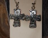 Melted Silver Cross Earrings