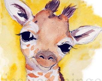 Giraffe Print, Jungle Art, Jungle Nursery Art, Giraffe Nursery Print, Giraffe Illustration, Giraffe Art Print, Art, African Animals, Giraffe