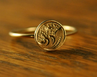 Antique Gold Stick Pin Turned Ring