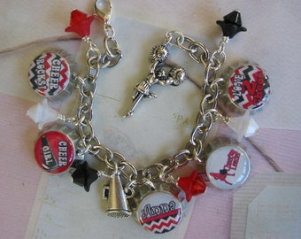 Personalized  Cheerleading mini bottle cap bracelet in red or blue, cheerleader gifts, cheerleader bracelet gift, cheerleader jewelry, cheer