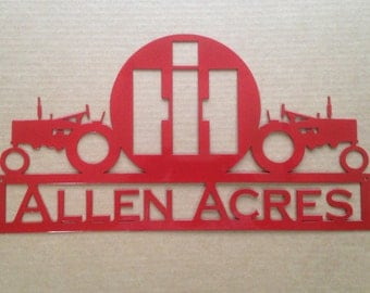 International Harvester Sign with Two Tractors and personalized Text Field (P12)