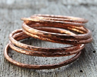 chunky hammered copper bangle, hand forged copper bracelet, one extra large artisan hammered copper bracelet, 7th anniversary