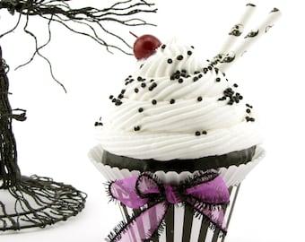 Fake Cupcake (1) Black and White Cupcake Collection Black White Sundae w/ Skulls and Purple Ribbon Standard Size 12 Legs Original Design