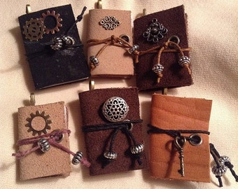 Leather Mini Book Pendant