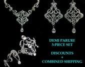 Statement Bridal Jewelry, Art Deco Necklace, Chandelier Earrings, Victorian Bracelet, Pearl Jewelry, CARMEN SILVER D