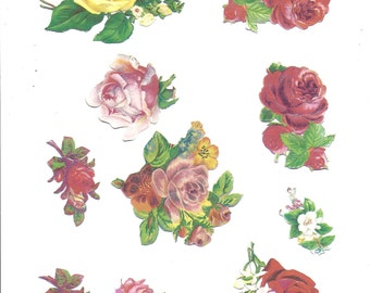 A page of victorian roses for any paper craft