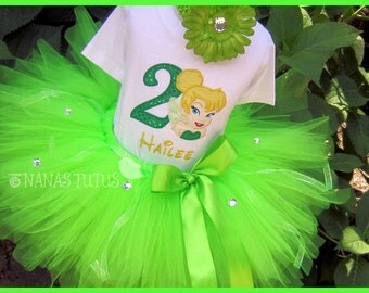 Custom - Birthday Tinkerbell  with Number, Party Outfit , Theme Parties and Photo Shoots in Sizes 1yr thru 5yrs