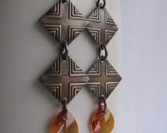 Copper Crystal Teardrop Earrings- You choose the decoration