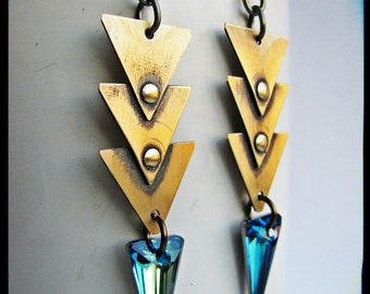 Triple Brass Triangle and Swarovski Crystal Spear Earrings- Bermuda Blue or Bronze Shade or Red Magma