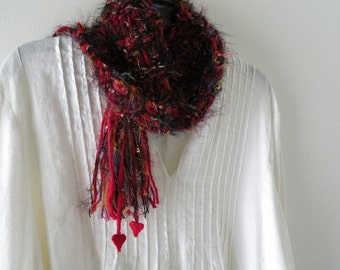 Knit Scarf, red heart women's long warm winter fashion, black gold silver, soft merino wool Valentine's Day i963 Life's an Expedition
