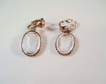 Gold Crystal Cameo Clip On Earrings