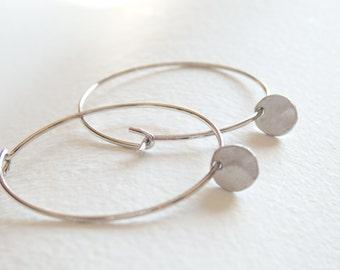 Silver Little Disc Hoop Earrings
