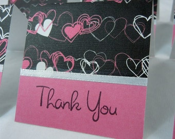 Black with Pink and White Hearts Mini Thank You Cards 2x2 (6)