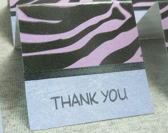 Purple and Black Zebra Print Mini Thank You Cards 2x2 (6)