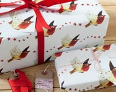 Christmas Robin Recycled Wrapping Paper