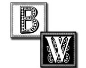 Alphabet Letters Black and White 1 inch squares Collage Sheet INSTANT DIGITAL DOWNLOAD